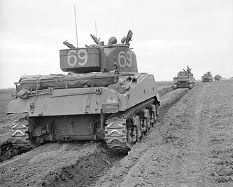 Convoy of 144th Regiment Royal Armoured Corps Cherman Tanks 1944