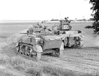 144th regiment Royal Armoured Corps Sherman tank and Stuart reconnaissance light tank