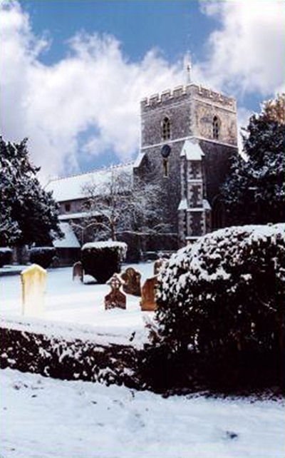 St Mary's Church Wendover in winter